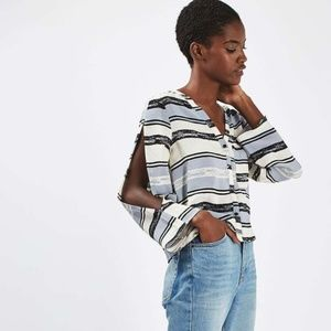TOPSHOP Split Sleeve Crop Top Stripe Button Down
